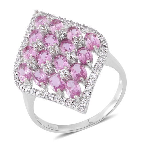 Designer Inspired- 9K W Gold AAA Pink Sapphire (Ovl), Natural Cambodian Zircon Ring 6.350 Ct. Gold W