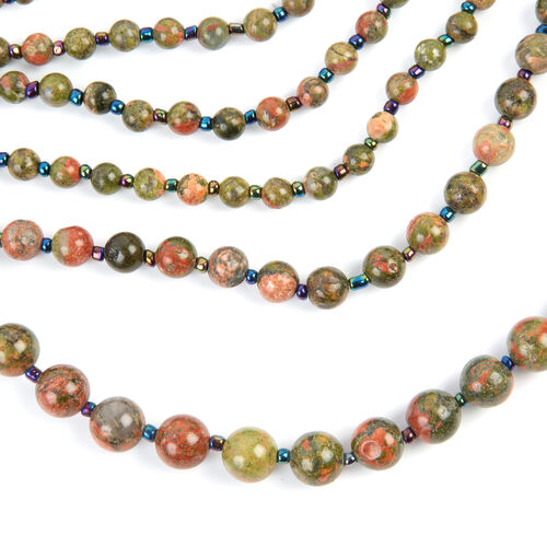 Unakite (Rnd), Multi Colour Simulated Gemstone BIB Necklace (Size 28 and 2.5 inch Extender) in Silver Tone 820.000 Ct.