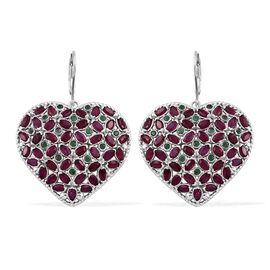 African Ruby (Mrq), Kagem Zambian Emerald Heart Lever Back Earrings in Platinum Overlay Sterling Sil