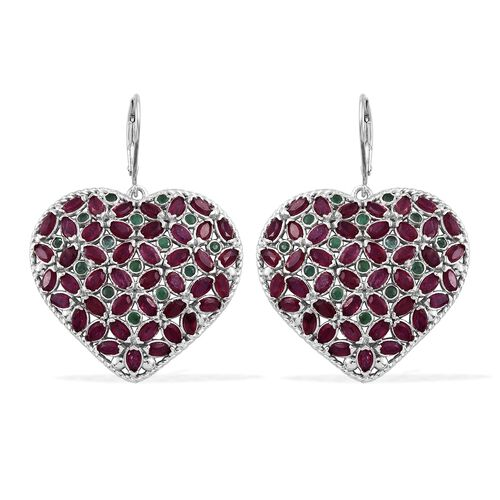 African Ruby (Mrq), Kagem Zambian Emerald Heart Lever Back Earrings in Platinum Overlay Sterling Sil