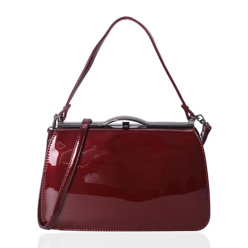 Boutique Limited  Collection High Glossed Vintage Style Burgundy Colour Tote Bag with Removable Shou