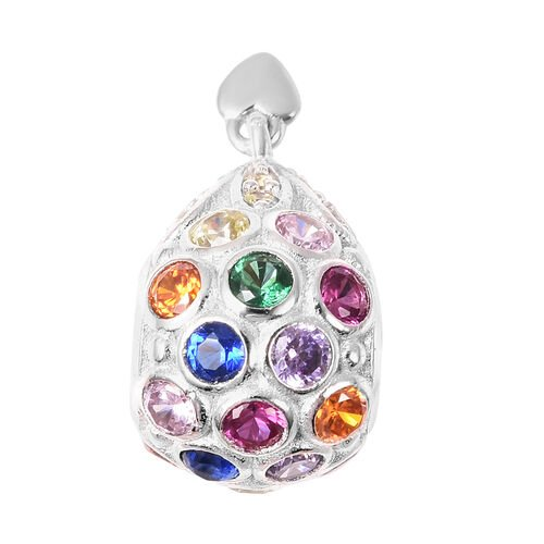 Charmes De Memoire - Simulated Yellow Sapphire and Multi Gemstone Charm in Rhodium Overlay Sterling