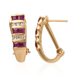 African Ruby (Sqr), Natural Cambodian Zircon J Hoop Earrings (with Clasp) in 14K Gold Overlay Sterli