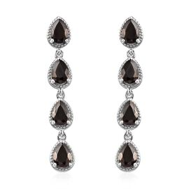 Elite Shungite (Pear) Dangling Earrings (with Push Back) in Platinum Overlay Sterling Silver 3.000 C