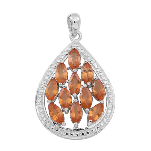Yellow Sapphire (Mrq) Pendant in Rhodium Plated Sterling Silver 3.250 Ct.
