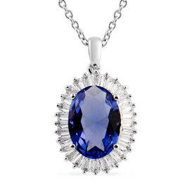 Simulated Tanzanite (Ovl 14x10 mm), Simulated Diamond Pendant in Silver Plated and Chain (Size 20) i