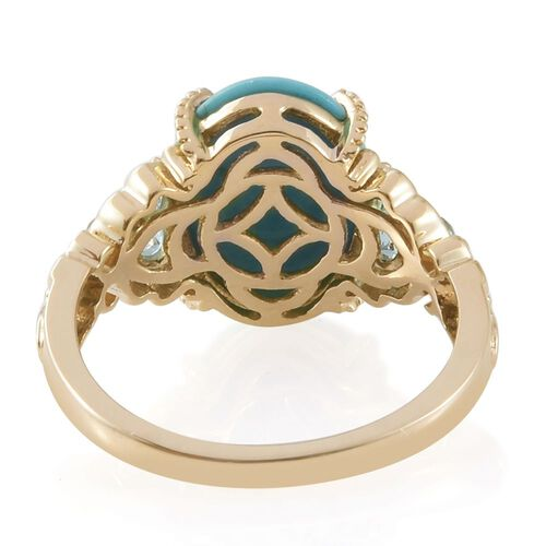 9K Yellow Gold AA Arizona Sleeping Beauty Turquoise (Ovl), Signity Pariaba Topaz Ring 5.000 Ct.