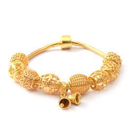 Designer Inspired- 14K Gold Overlay Sterling Silver Bracelet (Size 7.5) with Charm, Silver wt 27 Gms