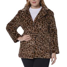 Leopard Pattern Faux Fur Coat - Brown