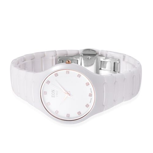 EON 1962 Swiss Movement 3ATM Water Resistant Studded Simulated Diamond Watch with White Ceramic Strap