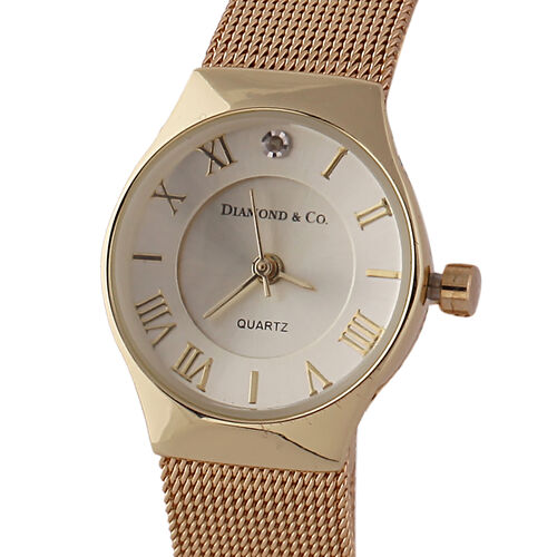 DIAMOND and CO LONDON Diamond Studded Bracelet Watch with a Stainless Steel Mesh Style Strap in Gold Tone