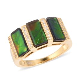 4.2 Ct Canadian Ammolite and White Zircon 3 Stone Ring in Sterling Silver 5.5 Grams