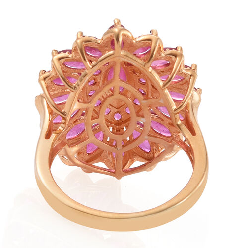 African Ruby (Mrq 0.60 Ct) Floral Ring in 14K Gold Overlay Sterling Silver 5.500 Ct.