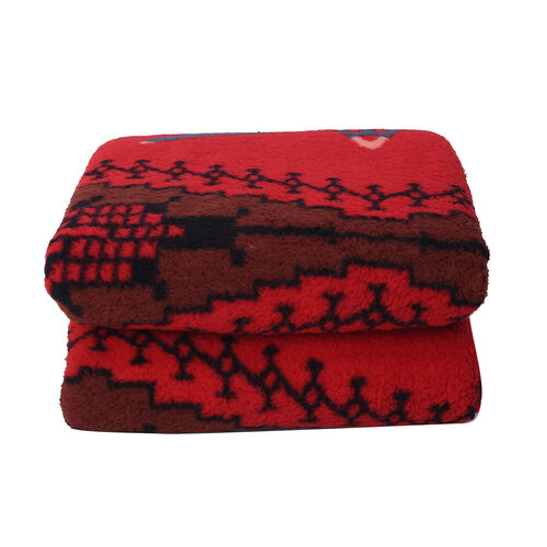 Tribal Pattern Sherpa Blanket (150x200cm) - Red Aztec
