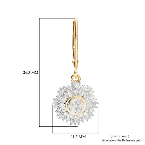9K Yellow Gold SGL Certified Diamond (I3/G-H) Lever Back Drop Earring 1.00 Ct.
