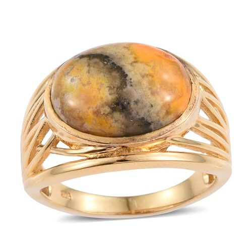 Bumble Bee Jasper (Ovl) Solitaire Ring in 14K Gold Overlay Sterling Silver 9.000 Ct. Silver wt 6.14 Gms.