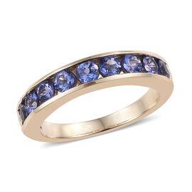 9K Yellow Gold AA Tanzanite (Rnd) Half Eternity Ring 1.150 Ct.