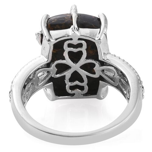 Arizona Mojave Black Turquoise (Cush), Boi Ploi Black Spinel Ring in Platinum Overlay Sterling Silver 13.500 Ct.