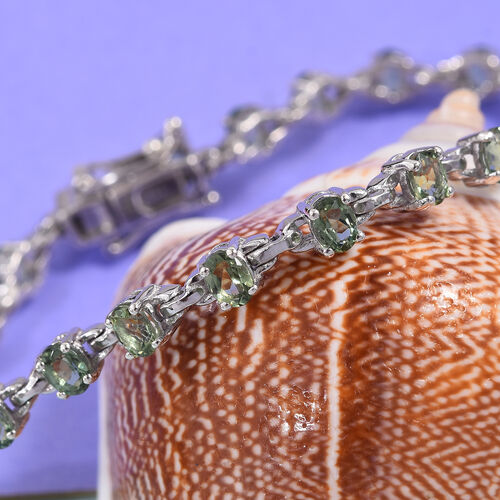 One Time Deal- Natural Green Apatite (Ovl) Bracelet (Size 7.5) in Platinum Overlay Sterling Silver 4.25 Ct., Silver wt 7.60 Gms