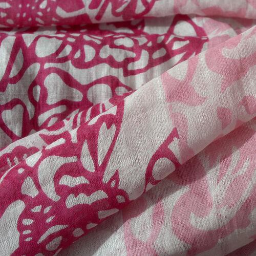 100% Cotton Fuschia Colour Abstract Scarf (Size 180x100 Cm)