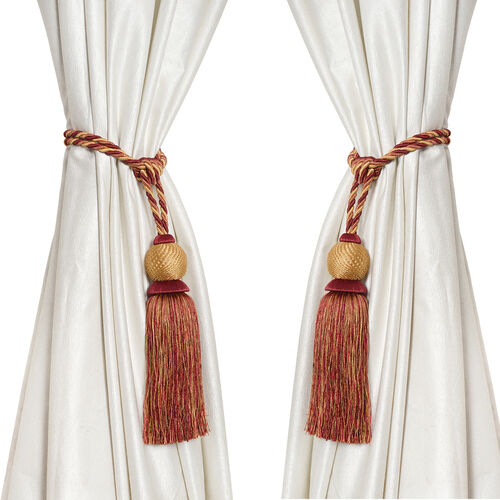 Pair of Brown and Golden Colour Tassel Curtain Tiebacks (Size 66 to 68.5 Cm)