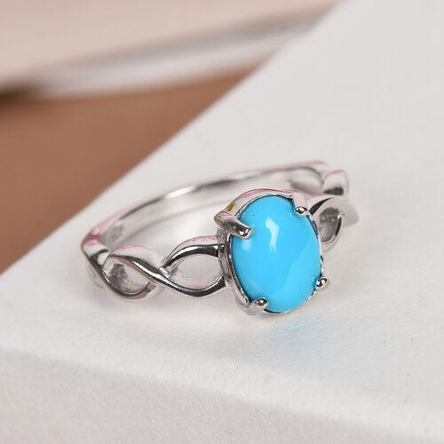 AA Arizona Sleeping Beauty Turquoise Solitaire Ring in Platinum Overlay Sterling Silver 1.00 Ct.