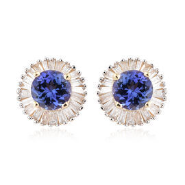 9K Yellow Gold AA Tanzanite (Rnd), Diamond Halo Earrings 1.000 Ct.