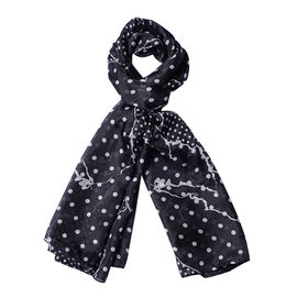 DOD - LA MAREY 100% Mulberry Silk Polka Dot Pattern Scarf - Black