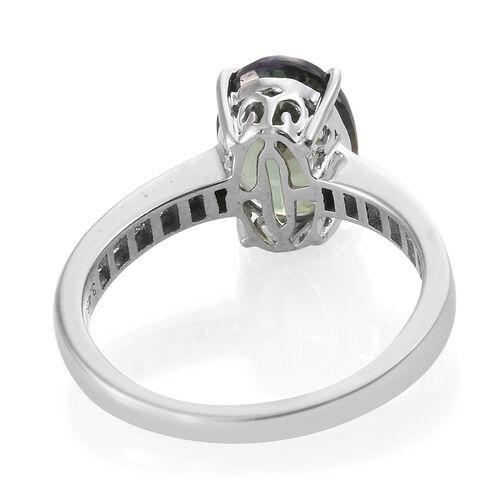 ILIANA Very Rare 3.90 Ct AAA Peacock Tanzanite and Diamond IGI Certified (SI/G-H) Ring in 18K White Gold