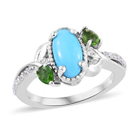 AA Arizona Sleeping Beauty Turquoise (Ovl 10x5 mm), Russian Diopside and Natural Cambodian Zircon Ri
