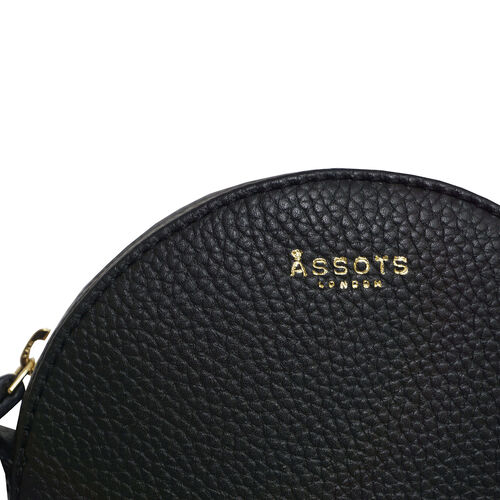 Assots London DISC Genuine Leather Round Mini Crossbody Bag - Black