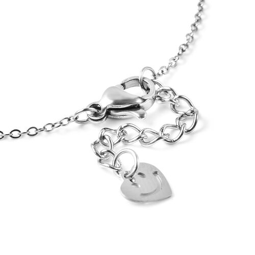 Personalise Engravable Initial Heart Beat Steel Bracelet, Size 7+1 Inch, Stainless Steel