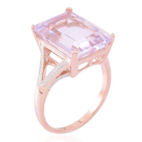 Rose De France Amethyst (Oct) Ring in Rose Gold Overlay Sterling Silver 11.500 Ct.