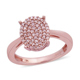 0.25 Ct Pink Diamond Cluster Ring in 9K Rose Gold 3.10 Grams