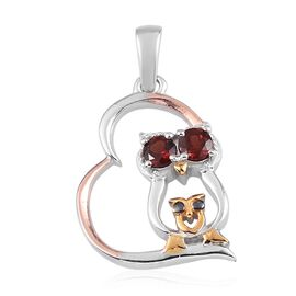 Red Garnet Owl in Heart Pendant in Platinum, Rose and Yellow Gold Overlay Sterling Silver
