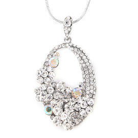 White Austrian Crystal (Rnd), Simulated Mystic White Crystal Pendant with Chain (Size 28 with 3 inch