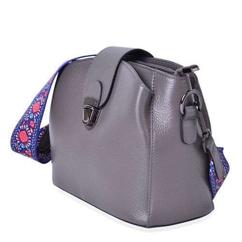 100% Genuine Leather Dark Grey Colour Shoulder Bag with Buckle Lock and Colourful Removable Shoulder Strap (Size 25.5X19X12 Cm)