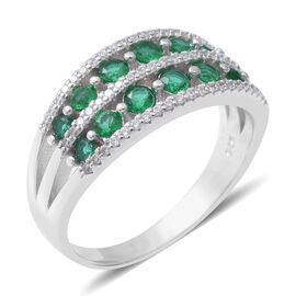 ELANZA Simulated Emerald (Rnd), Simulated Diamond Half Eternity Ring in Rhodium Overlay Sterling Sil