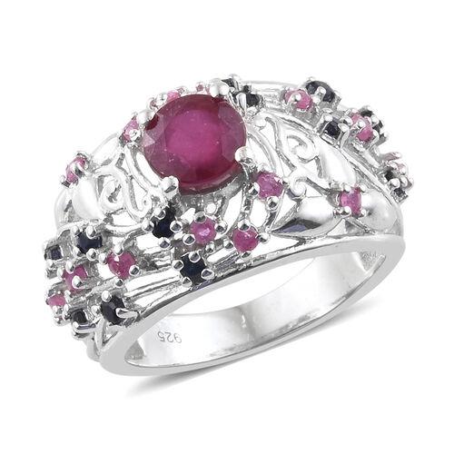 African Ruby (Rnd 1.150 Ct), Kanchanaburi Blue Sapphire Filigree Ring in Platinum Overlay Sterling S