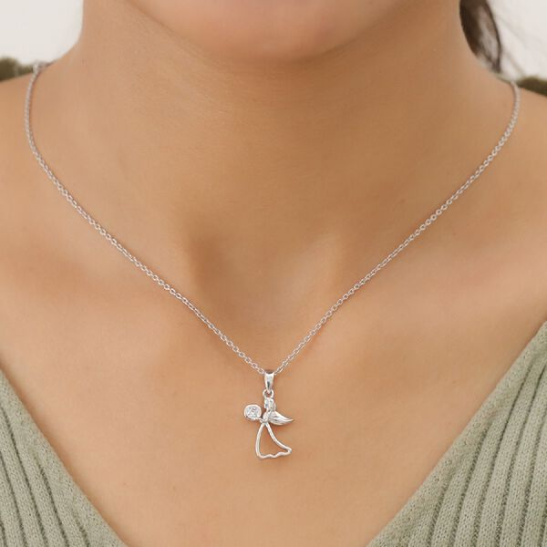 Natural Cambodian Zircon Angel Pendant in Platinum Overlay Sterling Silver