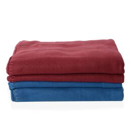 Set of 2 - Red and Blue Colour Fleece Solid Blanket (Size 170x130 Cm)