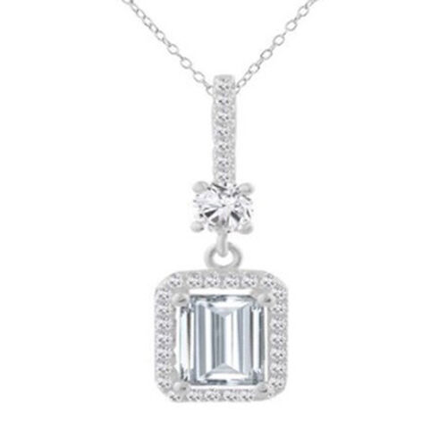 Brilliant Cut ELANZA Simulated Ruby (Oct), Simulated Diamond Pendant with Chain in Rhodium Plated Sterling Silver