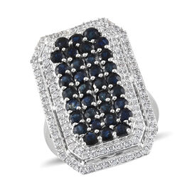 Kanchanaburi Blue Sapphire (Rnd), Natural Cambodian Zircon Cluster Ring in Platinum Overlay Sterling