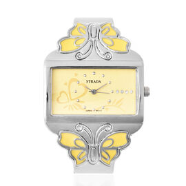 STRADA Japanese Movement White Austrian Crystal Studded Heart Pattern Yellow Dial Butterfly Theme Ba