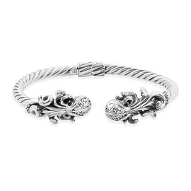 Royal Bali Collection Bio Ploi Black Spinel (Rnd) Octopus Bangle (Size 7.25) in Sterling Silver 0.450 Ct, Silver wt 20.08 Gms.
