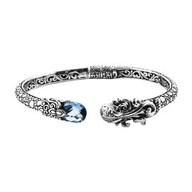 Royal Bali Collection Blue Topaz Octopus Bangle (Size 7.25) in Sterling Silver 4.850 Ct, Silver wt 2