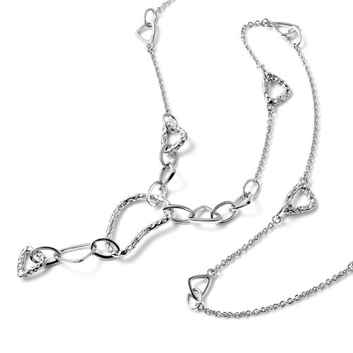 RACHEL GALLEY - Rhodium Overlay Sterling Silver Station and Link Necklace (Size 40), Silver wt. 26.28 Gms