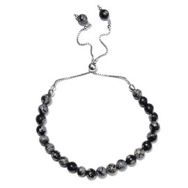 30.64 Ct Snow Flake Obsidian Beaded  Adjustable Bracelet in Platinum Plated Silver 10.5 Inch