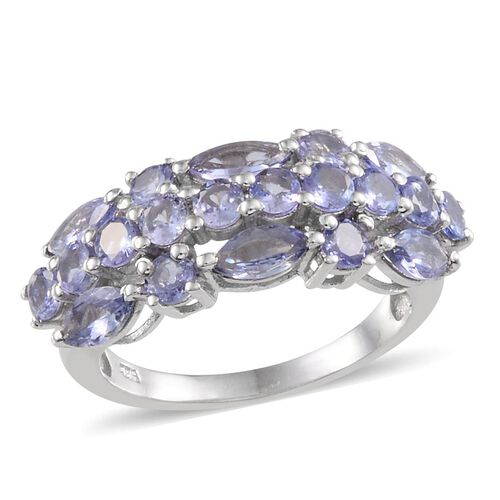 Tanzanite (Mrq) Ring in Platinum Overlay Sterling Silver 2.750 Ct.