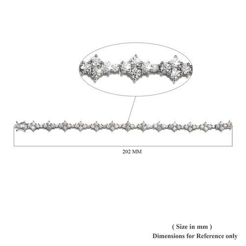J Francis - Platinum Overlay Sterling Silver Bracelet (Size 7.5) Made with SWAROVSKI ZIRCONIA 22.03 Ct, Silver wt 14.00 Gms
